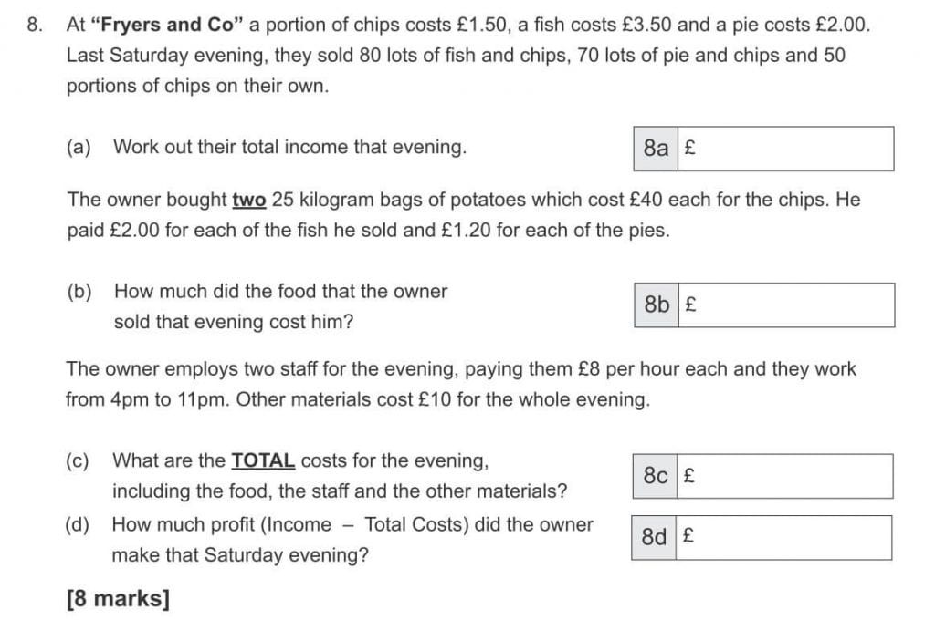 """At """"Fryers and Co"""" a portion of chips costs £1.50, a fish costs £3.50 and a pie costs £2.00 question"""