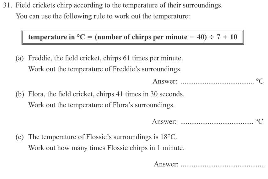 Field crickets chirp according to the temperature of their surroundings question