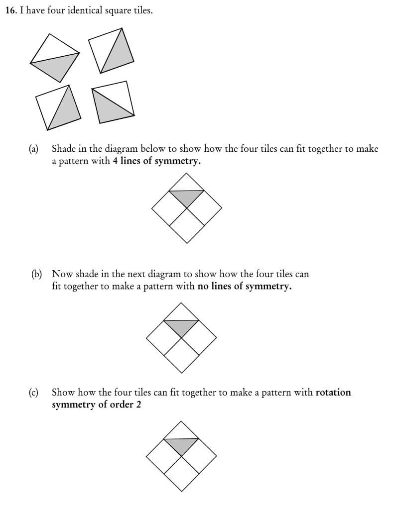 I have four identical square tiles question