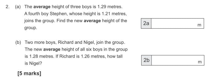 The average height of three boys is 1.29 metres question