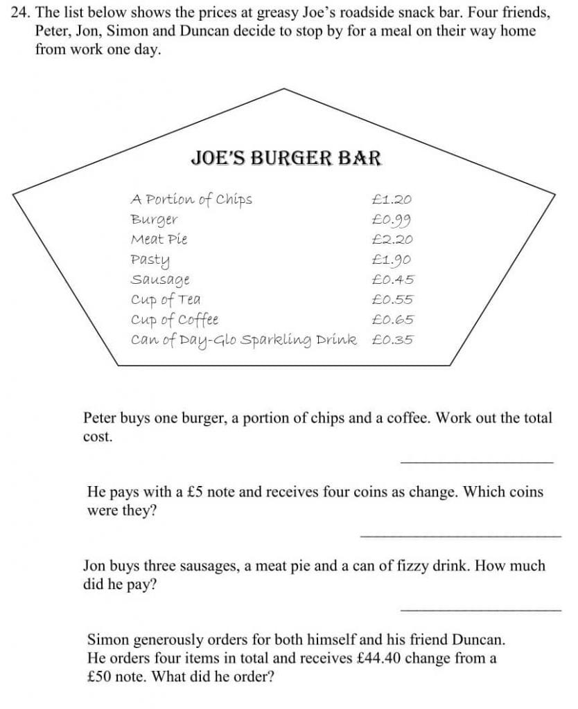The list below shows the prices at greasy Joe%u2019s roadside snack bar question