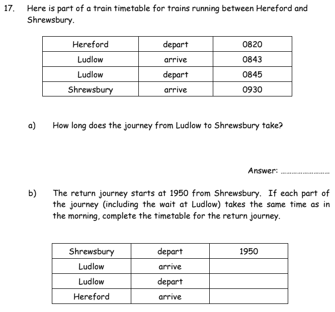 Time and Distance Tables