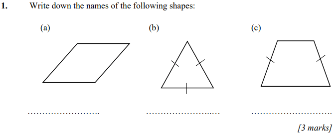Identification of shapes