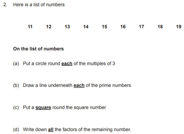 Multiples, Prime numbers, Square numbers and Factors