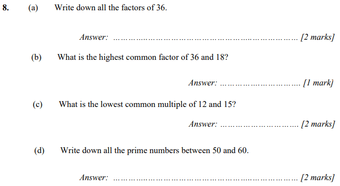 Factors, HCF, LCM and Prime numbers