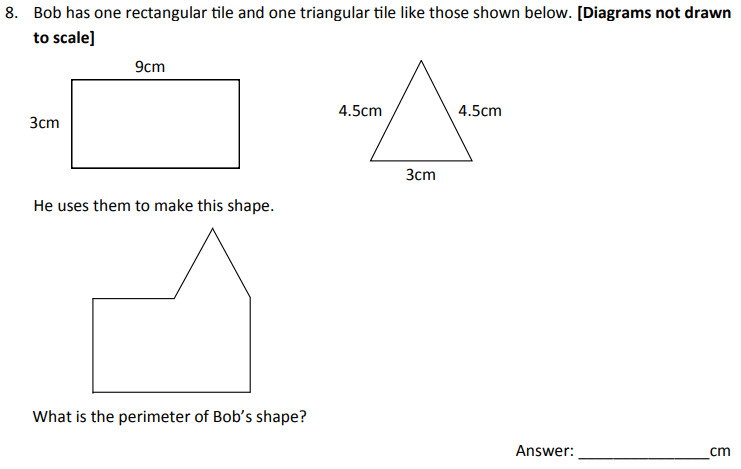 Perimeter, Compound shapes, Rectangle and Triangle
