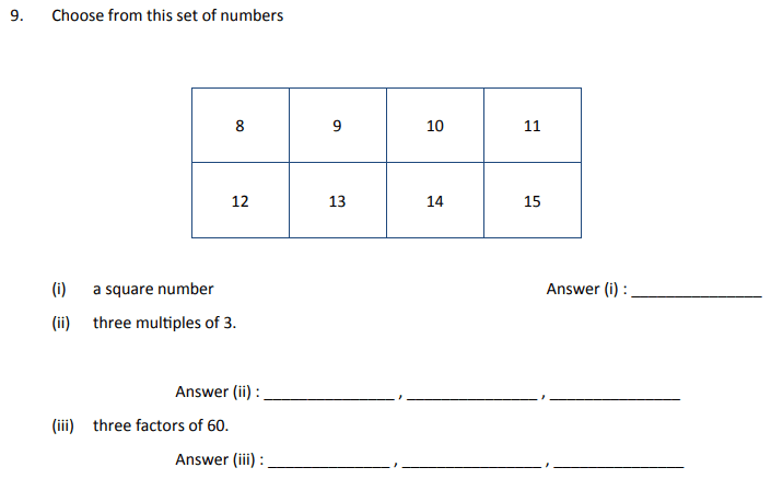 Square Numbers, Multiples and Factors