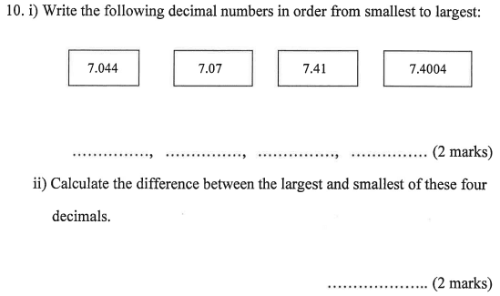 Order and compare numbers and Decimals
