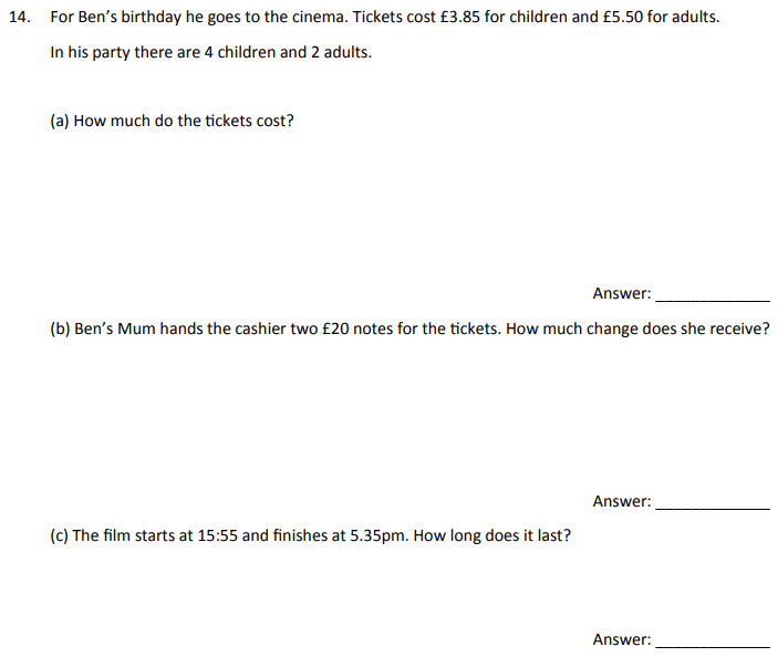 Money, Word problems and Time