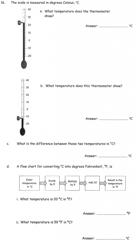 Temperature, Scale reading, Subtraction and Unit conversions
