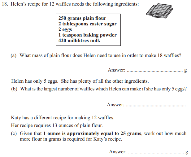 Recipe and Proportions and Unit Conversions