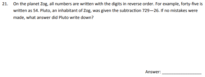 Logical Questions, Subtraction and Word problems