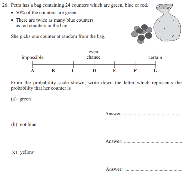 Probability, Percentages and Algebra Dependent Problems