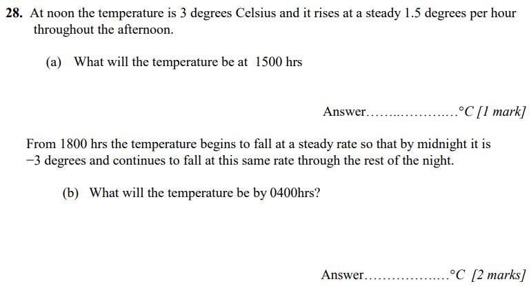 Linear Equations, temperature