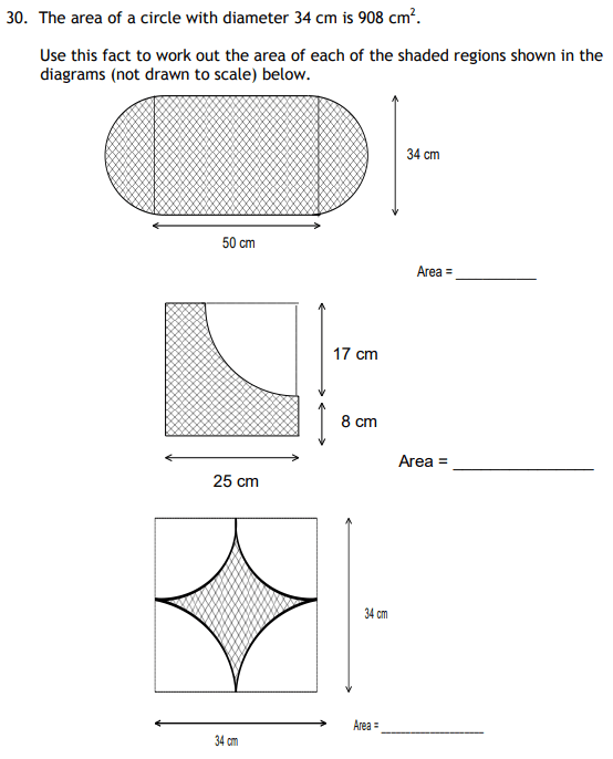 Area, Circle and Square
