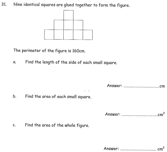 Area and perimeter and Squares