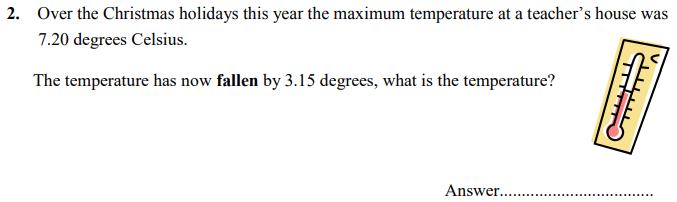 Temperature, Word Problems and Subtraction