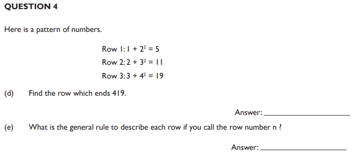 Square Numbers, Number Patterns & Sequences and Addition