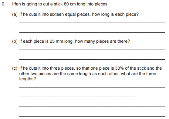 Percentages, Word Problems, Fractions and Unit Conversions