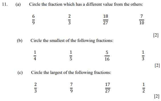 Fractions and Order and Compare Numbers
