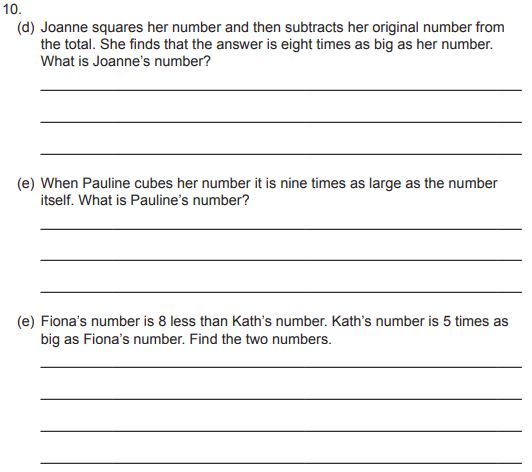 Linear Equations, Word Problems and Numbers