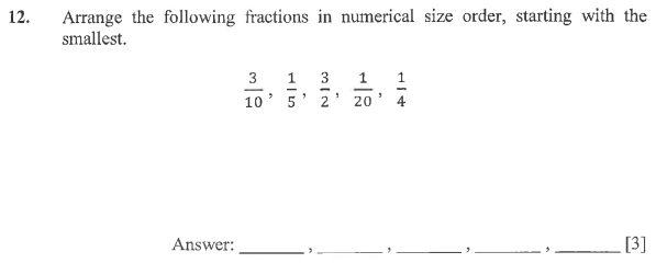 Order and Compare Numbers, Fractions, Numbers