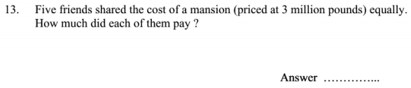 Word Problems, Division and Money