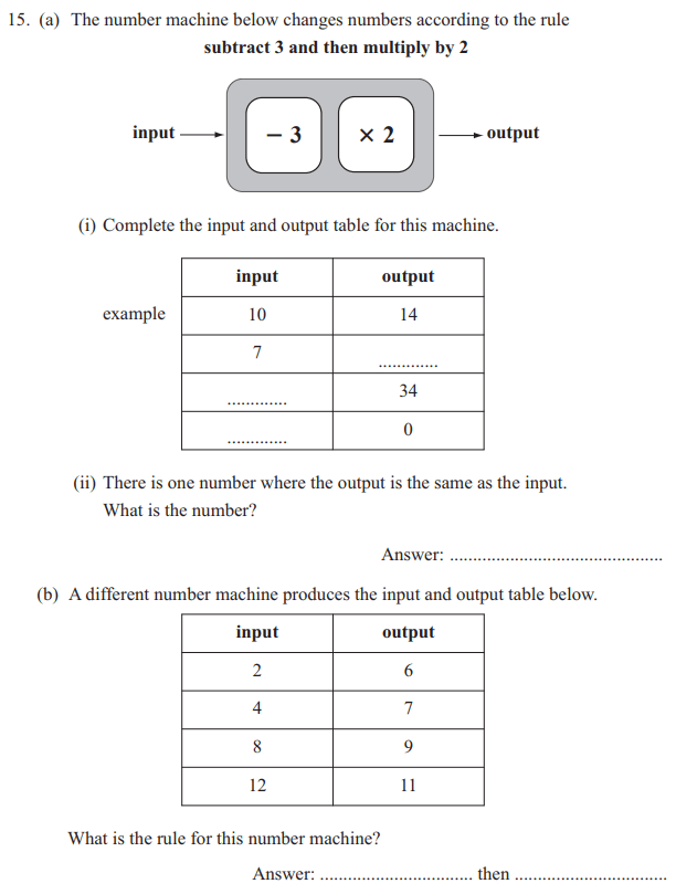 function machine and Linear Equations