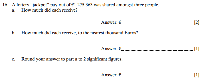 Word Problems, Division and Rounding