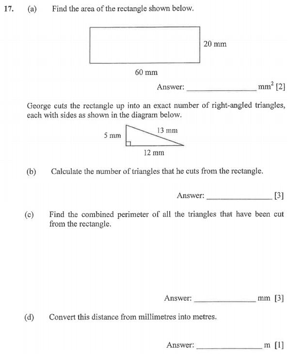 Measurement, Unit Conversions, Geometry, Area and Perimeter, Rectangle, Triangles