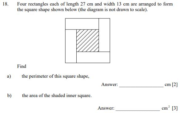 Compound shapes, Square, Area and Perimeter
