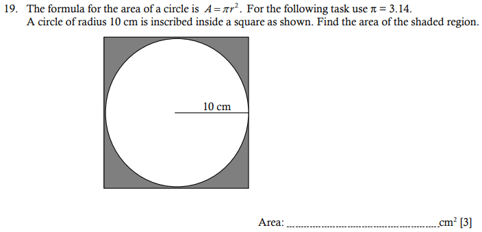 Compound shapes, Circle, Square and Area and Perimeter