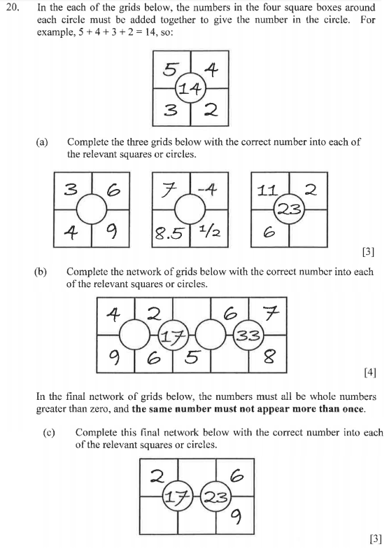 Addition, Subtraction, Algebra and Logical Problems