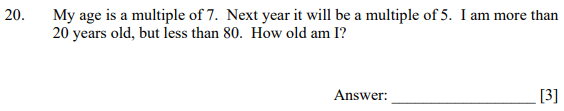 Multiples, Word Problems and Age Problems