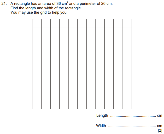 Area and Perimeter and rectangle
