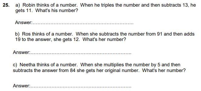 Linear Equations, Algebra, numbers