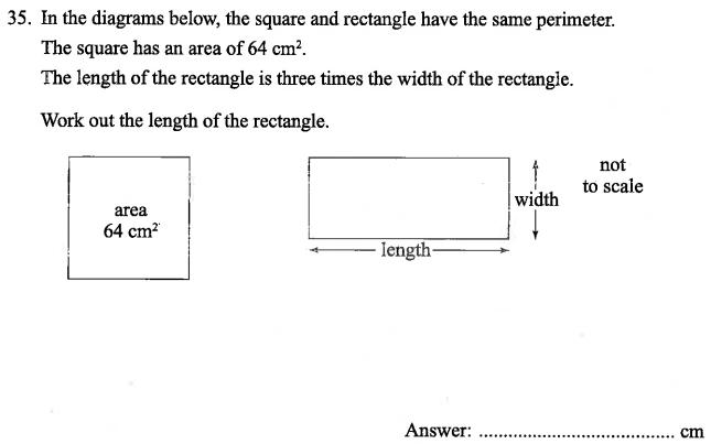Squares, Area and Perimeter, Geometry, Rectangle, Algebra Dependent Problems, Algebra