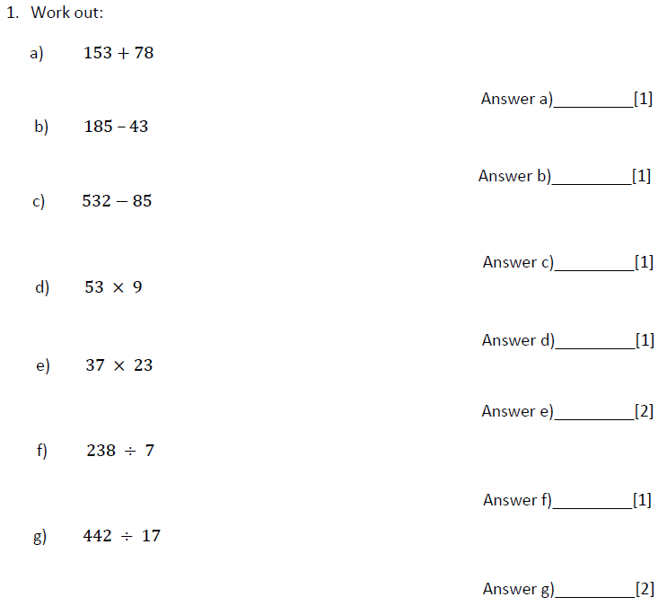 Addition, Subtraction, Multiplication and Division