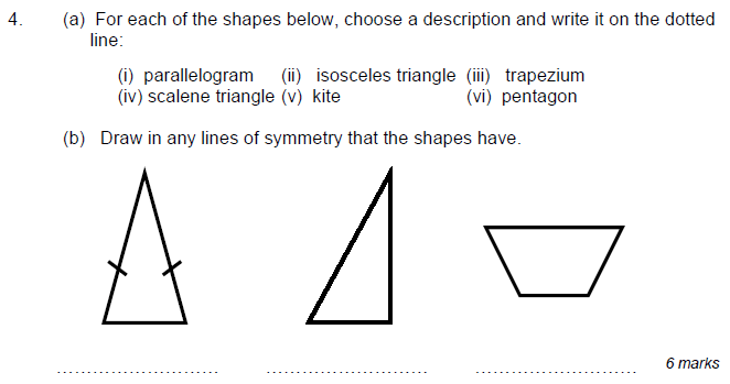Triangles and Lines of symmetry