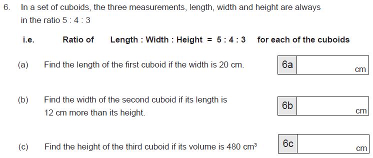 Ratio & Proportion, Cubes and Cuboids, Volume and Cube numbers