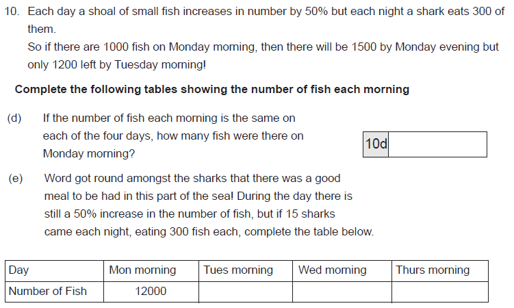Percentages, Table and Word Problems