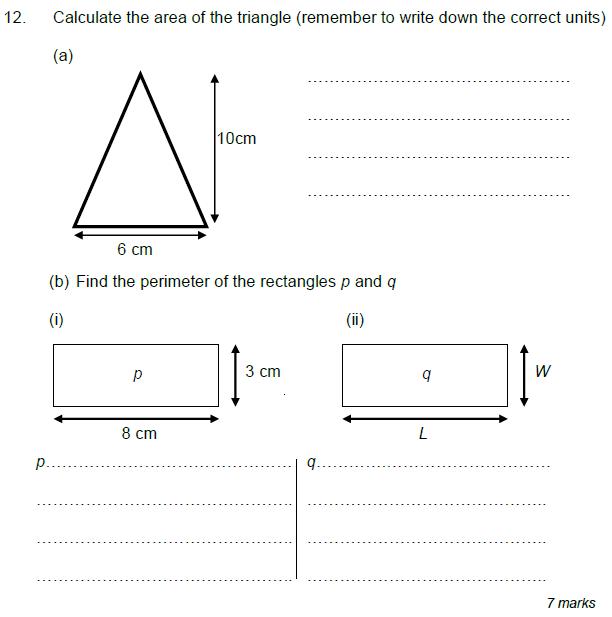 Area and perimeter, Triangle and Rectangle
