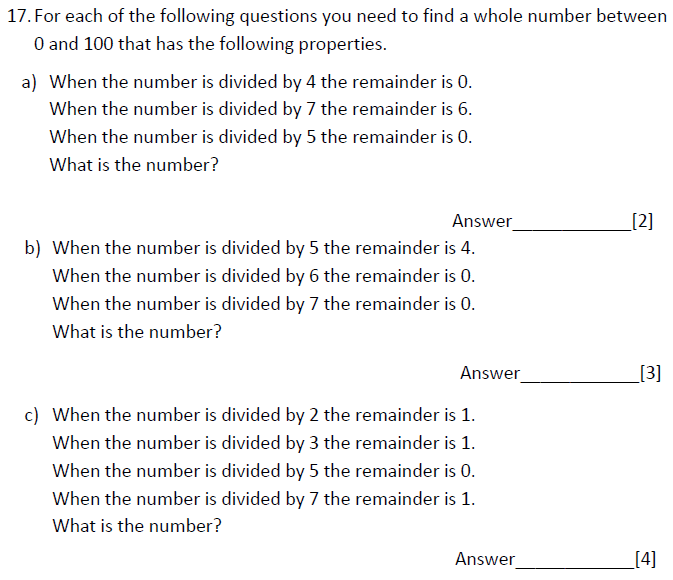 Multiples, Logical Problems and Division