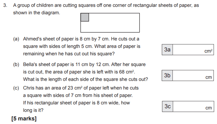 Geometry, Squares, Area and Perimeter, Rectangle, Compound shapes, Algebra, Linear equations, Numbers, Square numbers