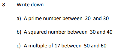Prime Numbers, Square Numbers and Multiples