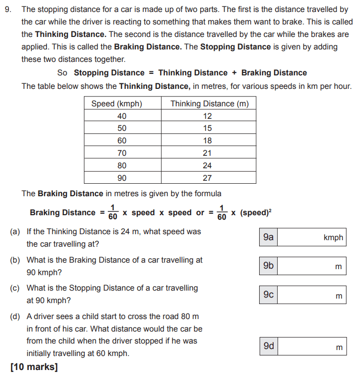 Speed Distance Time, Statistics, tables, Word problems, Numbers, Substitution, Algebra