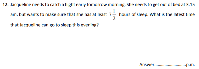 Numbers, Word Problems, Time