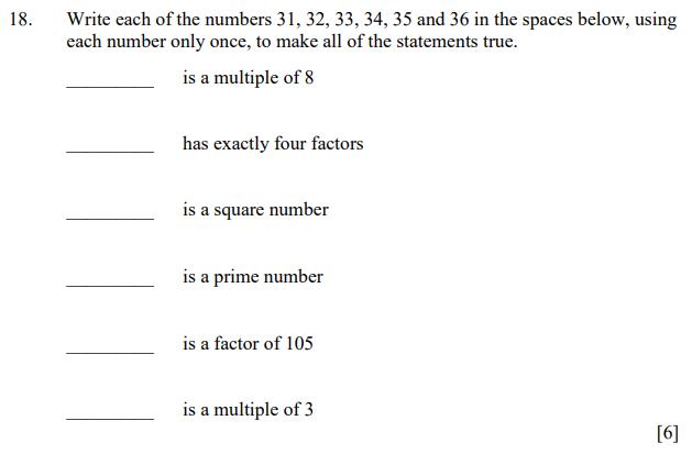 Numbers, Factors, Square Numbers, Prime Numbers, Multiples