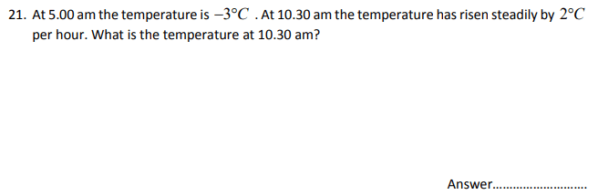 Temperature, Time, Numbers, Word Problems