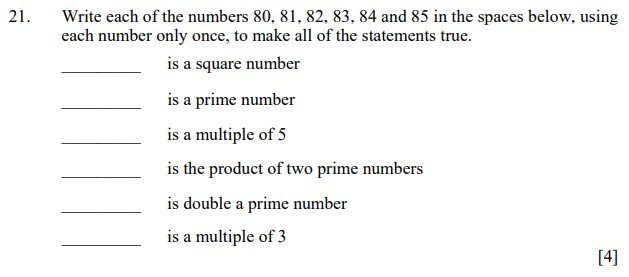 Numbers, Square Numbers, Prime Numbers, Multiples